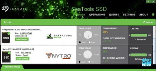 Seagate SeaTools SSD GUI