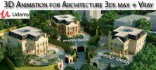 Udemy 3D Animation for Architecture 3ds max Vray 222x100 - دانلود Udemy 3D Animation for Architecture 3ds max + Vray آموزش دوره های ساخت انیمیشن های سه بعدی معماری با تری دی اس مکس و وی ری