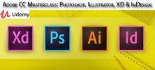 Udemy Adobe CC Masterclass Photoshop Illustrator XD InDesign 222x100 - دانلود Udemy Adobe CC Masterclass: Photoshop, Illustrator, XD & InDesign آموزش تسلط بر نرم افزارهای ادوبی سی سی: فتوشاپ، ایلاستریتور، این دیزاین و ایکس دی